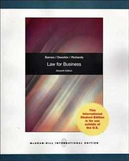 Law for Business, by Barnes, 11th INTERNATIONAL EDITION 9780071314572