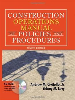 Construction Operations Manual of Policies and Procedures, by Civitello, 4th Edition 4 w/CD 9780071432191