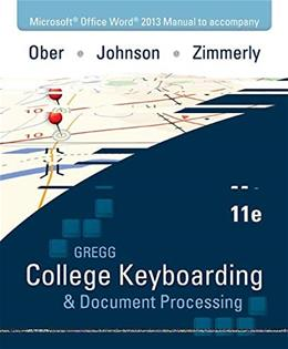 Gregg College Keyboarding and Document Processing, by Ober, 11th Edition 9780073397009