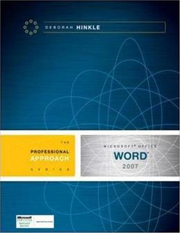 Microsoft Office Word 2007: A Professional Approach, by Hinkle 9780073519197