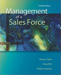Management of a Sales Force, by Spiro, 12th Edition 9780073529776