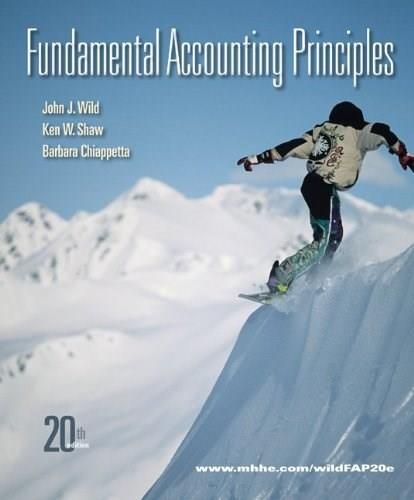Fundamental Accounting Principles, by Wild, 20th Edition 9780077405144