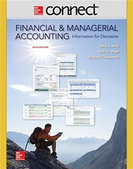 Financial and Managerial Accounting, by Wild, 6th Edition, ACCESS CODE ONLY 6 PKG 9780077633059