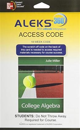ALEKS 360 for College Algebra, by Millier, Access Code Only PKG 9780077841447