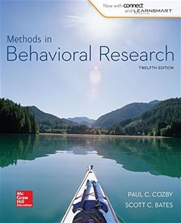 Methods in Behavioral Research (B&B Psychology) Standalone Book 12 9780077861896