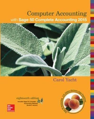 Computer Accounting, by Yacht, 18th Edition 9780078025723