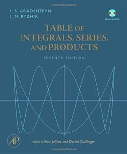 Table of Integrals, Series, and Products, by Gradshteyn, 7th Edition 7 w/CD 9780123736376