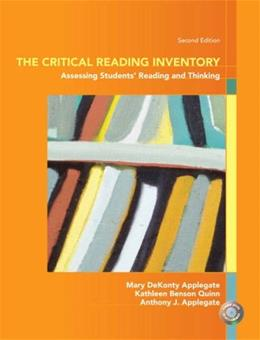 Critical Reading Inventory: Assessing Students Reading and Thinking, by Applegate, 2nd Edition 2 w/DVD 9780131589254