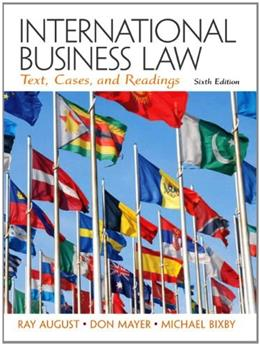 International Business Law, by August, 6th Edition 9780132718974