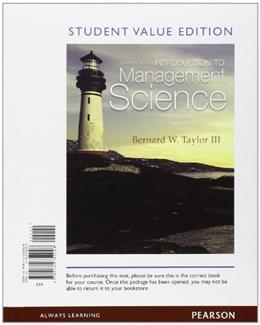 Introduction to Management Science, by Taylor, 11th Student Value Edition 9780132752008