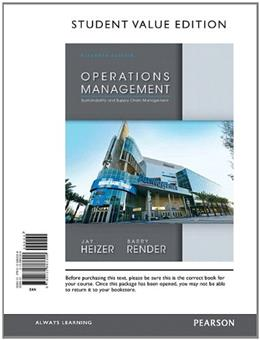 Operations Management, Student Value Edition (11th Edition) 9780132863308