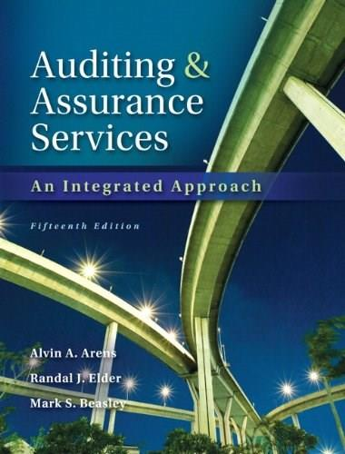 Auditing and Assurance Services, by Arens, 15th Edition 15 w/CD 9780133125634