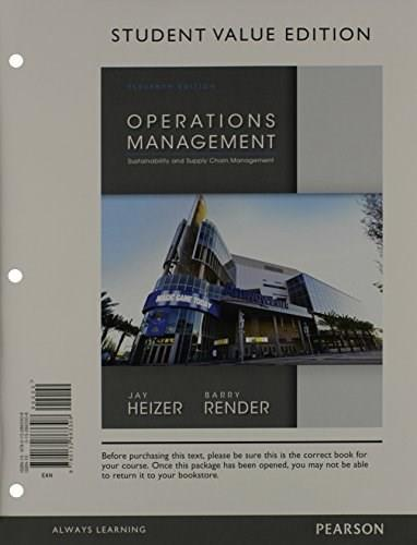 Operations Management, by Heizer, 11th Student Value Edition 11 w/CD 9780133407983