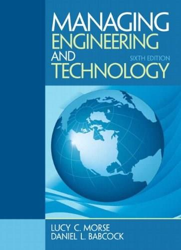 Managing Engineering and Technology (6th Edition) 9780133485103