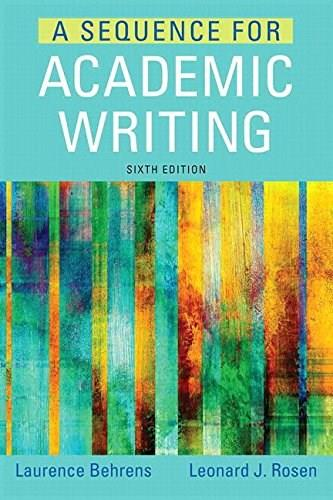 Sequence for Academic Writing, by Behrens, 6th Edition 6 PKG 9780134016894
