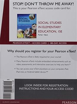 Social Studies in Elementary Education, Enhanced Pearson eText - Access Card (15th Edition) 9780134043401