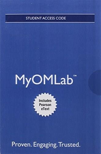 MyOMLab with Pearson eText -- Access Card -- for Operations Management: Sustainability and Supply Chain Management 12 9780134165325