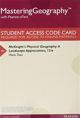 Masteringgeography with Pearson Etext -- Valuepack Access Card -- for Mcknights Physical Geography: A Landscape Appreciation 12th Revis 9780134245157