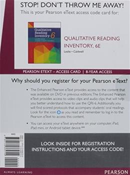 Enhanced Pearson eText  for Qualitative Reading Inventory, by Leslie, 6th Edition, Access Card Only 6 PKG 9780134385709