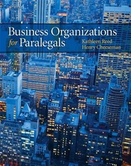 Business Organizations for Paralegals 1 9780135103647