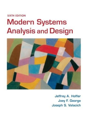Modern Systems Analysis and Design, by Hoffer, 6th Edition 9780136088219