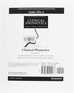 Clinical Phonetics, by Shriberg, 4th Edition, CD-ROMs ONLY 4 CD-ROM 9780137021086