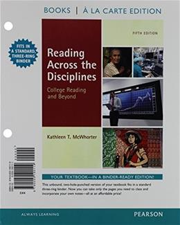 Reading Across the Disciplines, by McWhorter, 5th Books a la Carte Edition 9780205190119