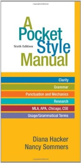 Pocket Style Manual, by Hacker, 6th Edition 9780312542542
