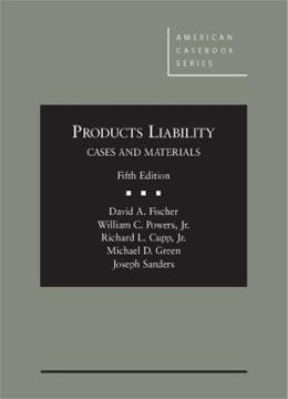 Products Liability, by Fischer, 5th Edition 9780314283504