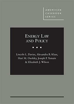 Energy Law and Policy, by Davies 9780314289148
