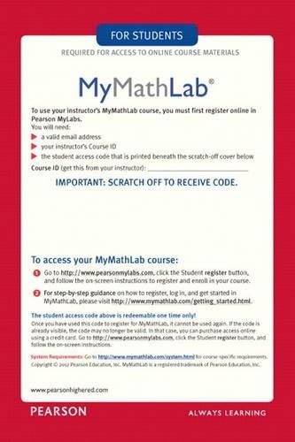 Mymathlab Student Access Kit By Pearson Access Code Only
