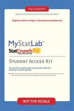MyStatLab with StatCrunch, by Pearson, ACCESS CODE ONLY PKG 9780321694638