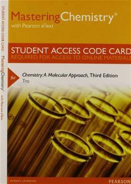 Chemistry: A Molecular Approach, by Tro, 3rd Edition, ACCESS CODE ONLY 3 PKG 9780321806383