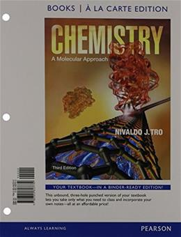 Chemistry: A Molecular Approach, by Tro, 3rd Books a la Carte Edition 9780321813732