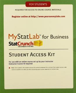 Business Statistics, by Pearson Education, ACCESS CODE ONLY PKG 9780321921468
