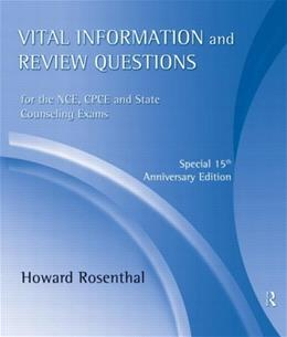 Vital Information and Review Questions for the NCE, CPCE and State Counseling Exams, by Rosenthal, 15th Anniversary Edition, CD-ROMs ONLY 15 CD-ROM 9780415801416