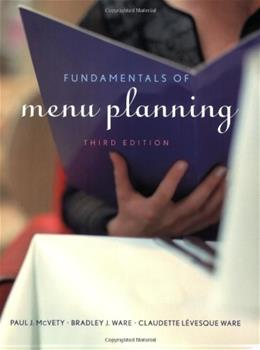 Fundamentals of Menu Planning, by McVety, 3rd Edition 9780470072677