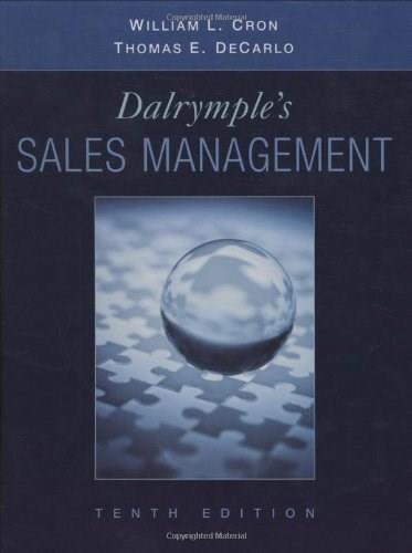 Dalrymples Sales Management: Concepts and Cases 10 9780470169650