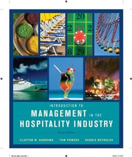 Introduction to Management in the Hospitality Industry 10 9780470399743