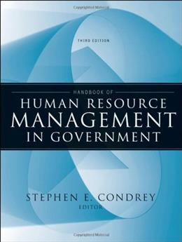 Handbook of Human Resource Management in Government, by Condrey, 3rd Edition 9780470484043