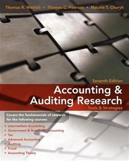 Accounting and Auditing Research: Tools and Strategies, by Weirich, 7th Edition 7 w/DVD 9780470506974