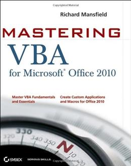 Mastering VBA for Office 2010, by Mansfield, 2nd Edition 9780470634004