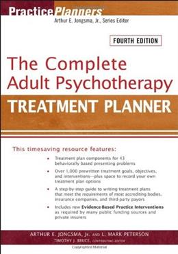Complete Adult Psychotherapy Treatment Planner, by Jongsma, 4th Edition 9780471763468