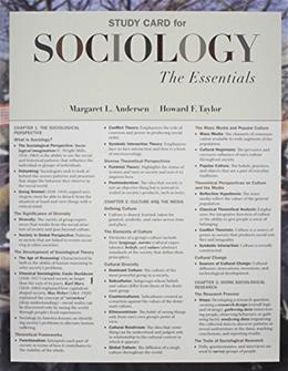 Sociology: The Essentials, by Anderson, Study Card 9780495812920
