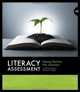 Literacy Assessment: Helping Teachers Plan Instruction, by Cooper, 4th Edition 9780495813866