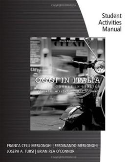 Student Activities Manual for Merlonghi/Merlonghi/Tursi/OConnors Oggi In Italia 9 9780495900320