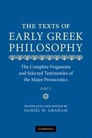 Texts of Early Greek Philosophy, by Graham, by Graham, 2 VOLUME SET PKG 9780521608428