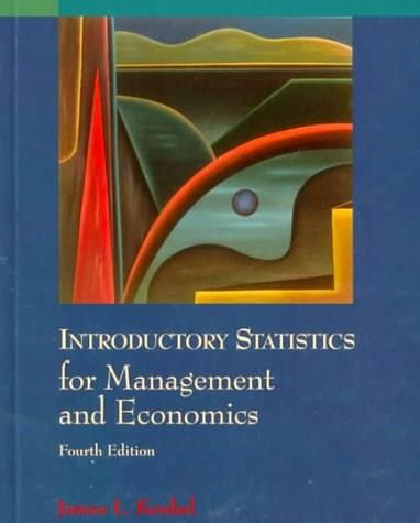 Introductory Statistics for Management and Economics, by Kenkle, 4th Edition 9780534203702