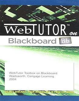 WebTutor on Blackboard, by Cengage Learning, ACCESS CODE ONLY PKG 9780534274894