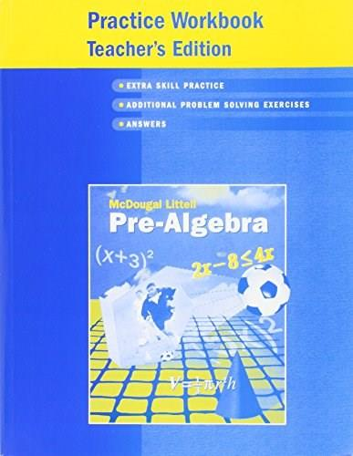 Pre-algebra Practice Workbook Teachers Edition 9780618343638